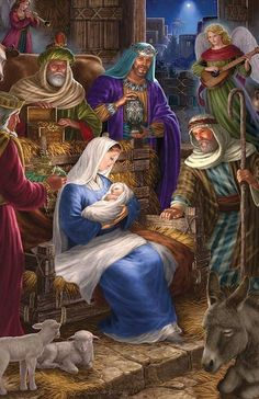 Holy Night is a 350 piece jigsaw puzzle by Cobble Hill featuring the Nativity Scene of Jesus Christ and measures at 24 Merry Christmas Gif, Christmas Scenery, Christmas Nativity Scene, Vintage Christmas Cards, Christmas Wishes, Christmas Art, Christmas Greetings, Nativity Scenes, Christmas Bells