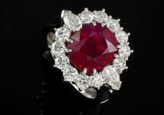6.15 CARAT NATURAL MOZAMBIQUE RUBY & DIAMOND RING