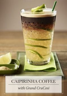Sip on this refreshing combination of Nespresso Grand Cru, zesty notes of lemon, and hints of cane sugar for your next espresso moment. This Caipirinha Coffee recipe is also ideal for serving to pool party guests.