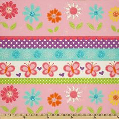 """Michael Miller's Butterfly Kisses Stripe - Pink - 100% Cotton, 43/44"""" Available at : http://www.popularfabric.com/en/buy/i/MM_Butterfly_Kisses_Stripe_Pink"""