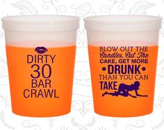 30th Birthday Mood Cups, Dirty 30, Dirty Thirty, Stripper Birthday, Birthday Color Changing Cups (20233)