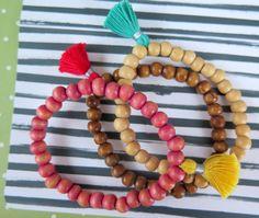 Tassel Mala Bracelets  Wood Bead Trio Stretch by ZardeniaJewelry