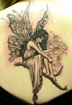 Are you searching fairy angel tattoos? Find out the meanings of different kind of fairy angel tattoo designs. When girls look for both cute as well as sexy tattoo designs then we are seeing that large number of them are choosing fairy and angel tattoos. Girly Tattoos, Tattoos Skull, Trendy Tattoos, Foot Tattoos, Body Art Tattoos, New Tattoos, Tatoos, Wing Tattoos, Female Tattoos