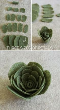 Felt succulents tutorial for all your rustic centerpieces and bouquets as seen… Felt crafts gifts and Felt Cloth Crafts Patterns. This DIY felt succulents kit makes felt flowers painless Are you into succulents and want them to last forever and ever and Felt Flowers, Diy Flowers, Fabric Flowers, Paper Flowers, Wedding Flowers, Wedding Bouquets, Easy Felt Crafts, Felt Diy, Diy Crafts