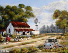 12-Beaux tableaux de Stella Bruwer Farm Paintings, Landscape Paintings, Acrylic Paintings, Original Paintings, Stella Art, Farm Windmill, Costa, Barn Pictures, Creation Photo