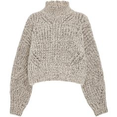Isabel Marant Farren Open Mock Neck Wool-Blend Sweater (1.810 RON) ❤ liked on Polyvore featuring tops, sweaters, shirts, grey, ribbed shirt, mock neck shirt, chunky cropped sweater, grey shirt and gray shirt