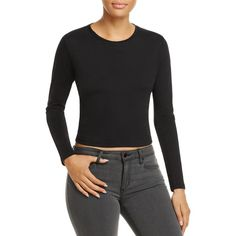 J Brand Carolina Crop Long-Sleeve Tee (2.530 CZK) ❤ liked on Polyvore featuring tops, t-shirts, black, longsleeve t shirts, crop top, long sleeve tops, long sleeve crop top and j brand top