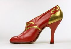 Red kid leather shoe  ~  by Bernhard Gronberg ~ Stockholm ~ Sweden ~ Bata shoe museum ~ 1923