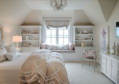 Love this for a guest bedroom - bench, bookcases, dresser, chair, bedcovers. Elegant Family Home with Neutral Interiors