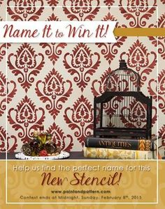 Name It to Win It returns with a haute Ikat pattern!!  Follow this link >>> www.royaldesignstudio.com/blogs/stencil-ideas/17046588-name-it-to-win-new-ikat-stencil-pattern and leave your name suggestion as a blog comment before midnight, Feb 8th 2014.  If we PICK it, you WIN it! Good luck!