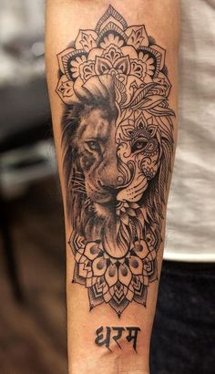 awesome ornamental lion tattoo ©️️ tattoo studio Aliens Tattoo Studio ❤️📌❤️📌❤️📌❤️📌❤️ tattoos 50 Eye-Catching Lion Tattoos That'll Make You Want To Get Inked - KickAss Things Lion Sleeve, Lion Tattoo Sleeves, Forearm Sleeve Tattoos, Tattoo Arm, Forearm Tattoos For Women, Lion Tattoo On Thigh, Animal Tattoos For Women, Tattoo Women, Tattoo Designs