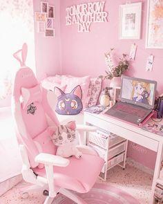 italian home decor Cute Room Decor, Pastel Room, Pink Room, My New Room, My Room, Gaming Room Setup, Gamer Setup, Gaming Chair, Bedroom Ideas