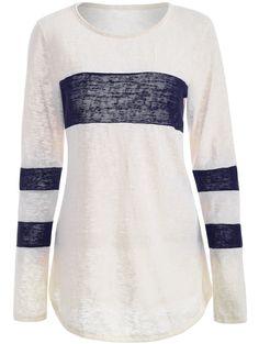 Varsity Striped Paneled Knitwear in Purplish Blue | Sammydress.com