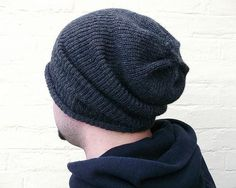 Mens knit hat oversized baggy beanie cable design by missbelluk, £16.00
