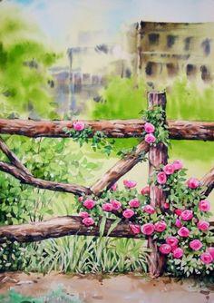 Watercolor Landscape, Watercolor Flowers, Watercolor Paintings, Watercolour, Cute Paintings, Beautiful Paintings, Decoupage, Urban Sketching, Mobile Wallpaper