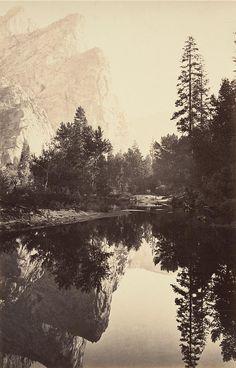 CARLETON E. WATKINS  1829 - 1916 Mirror View - Three Brothers, 1861-63
