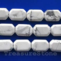 Bead, white howlite, 15x23mm flat rectangle. TreasureStone Beads Edmonton