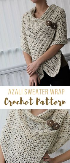 Easy Women's Crochet Sweater Wrap Pattern -- the buttons make it super cute and add a nice detail. #crochetsweaterpattern #crochetwrap #crochetsweater #crochetwrappattern #crochet #crochetsweaterpattern #affiliate