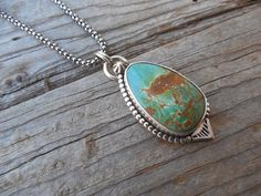Turquoise necklace handmade in sterling silver with a stone from the Battle mountain mine in Nevada by Billyrebs on Etsy