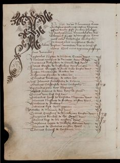 The Matriculation Register of the Basel Rectorate, recorded in manuscript form from 1460 to folio Old Calligraphy, Calligraphy Envelope, Calligraphy Alphabet, Caligraphy, Medieval Books, Medieval Manuscript, Illuminated Letters, Illuminated Manuscript, Vintage Gothic
