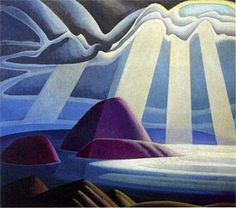 Lawren Harris Lake Superior Sketch c. Another of the Group of Seven, early century . (Contrast this with Aboriginal Art - similarly brilliant approaches from artists generations apart, similar in their clarity of vision. Tom Thomson, Emily Carr, Group Of Seven Art, Group Of Seven Paintings, Canadian Painters, Canadian Artists, Art Gallery Of Ontario, Wow Art, Aboriginal Art