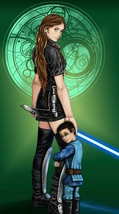 Satele Shan, Jedi Sage Master, with son, Theron Shan.