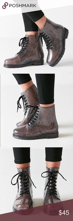 UO Glitter Boots in Black/Silver/Gray Size 8 Brand new without box. Smoke free pet friendly. No flaws. Works great for rain and snow or every day wear. Urban Outfitters Shoes Combat & Moto Boots