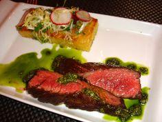 Nuela Peruvian food - Churrasco hanger steak, yuca hash browns, chimichurri