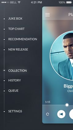 iOS7 Side Menu App Design by Stan Mayorov