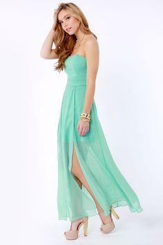 Gorgeous Strapless Dress - Mint Green Dress - Maxi Dress - $51.00