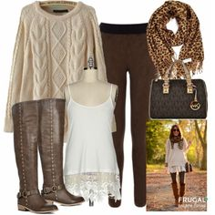Look Frugal Fashion Friday Brown Autumn Outfit Cute Fall Outfits, Winter Fashion Outfits, Autumn Winter Fashion, Fashion Ideas, Fashion Fall, Autumn Outfits, Brown Fashion, Stylish Outfits, Runway Fashion