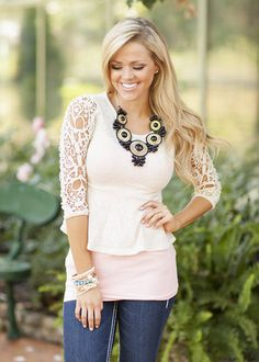 Beautiful Lace Peplum Top from Modern Vintage Boutique