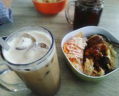 Ice Cappucino and Chicken Teriyaki Black Pepper