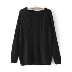 Cable Knit Loose Black Sweater (640 TWD) ❤ liked on Polyvore featuring tops, sweaters, sheinside, shirts, black, loose black shirt, black shirt, long sleeve pullover sweater, loose sweater y black long sleeve shirt