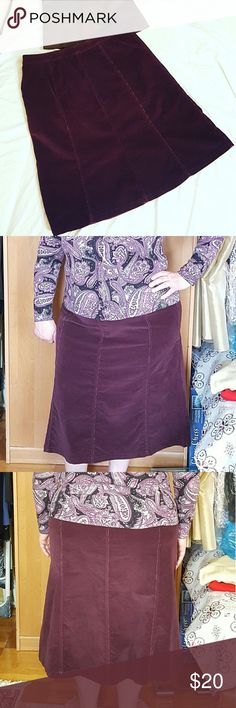 "Croft&Barrow Plum Corduroy Skirt Croft&Barrow Plum Corduroy Skirt Stretchy Purple/Plum Color Zip and fastener closure at the side Size 18 Waist 19.5"" flat Hips 25"" flat Length 28.25"" Good preloved condition. Some signs of wear from clamp hanger and Zip area  Measurements are approximate   (Item LM) croft & barrow Skirts"
