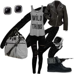 Rockabilly, perfect concert outfit. Tights, black and grey, tank top, leather jacket