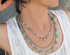Delicate Tassel Necklace Long Tassel Necklace Turquoise by Artjuna