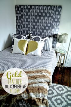 """DIY Gold Leather """"You Complete Me"""" Valentine Pillows! #DIY #Valentines -- Tatertots and Jello"""