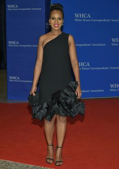 """Also opting for a simple black Victoria Beckham dress, """"Scandal"""" actress Kerry Washington hits the red carpet at the White House Correspondents' Association Dinner at the Washington Hilton Hotel on April 30, 2016."""