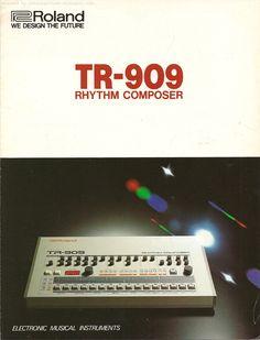 Retro Synth Ads: Roland TR-909 drum machine four page brochure, 1984