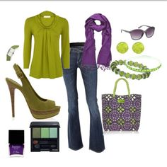 LOVE purple and green. I can do without the shoes shown here, but otherwise... <3!