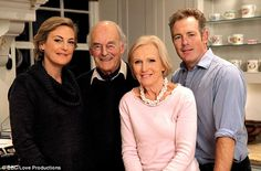 Mary Berry with her husband Paul (second from left) and children Annabel (left) and Tom (right)