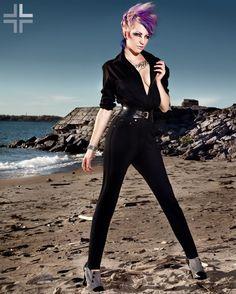 black jumpsuit #purplehair #MODEL