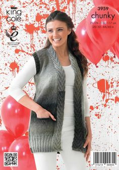 Cardigan and Waistcoat in King Cole Riot Chunky - 3959 Diy Embroidery Patterns, Loom Knitting Patterns, Flower Embroidery Designs, Knitting Stitches, Knitting Designs, Pullover Design, Sweater Design, Crochet Cardigan Pattern, Knit Crochet