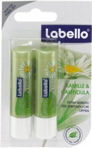 Labello Natural - Chamomile & Calendula Lip Balm 2x 0.17 oz (4.8g) Twin Pack limited edition by Labello. $12.99. With calming Chamomile & soothing Calendula extracts. With Jojoba Oil. Contains Shea Butter that is certified organic after German standards. Without any preservatives and no parabens. Country of Origin: Germany. Do your sensitive lips need gentle, pampering care? Comfort and soothe sensitive, irritable lips with this incredibly gentle, 100% preservat...