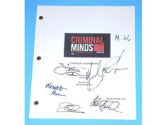 Criminal Minds Pilot Episode Extreme Aggressor Autographed: Thomas Gibson, Matthew Gray Gubler, Shemar Moore, Mandy Patinkin & More