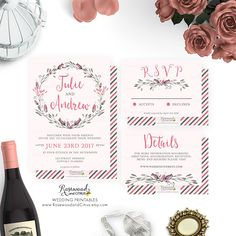 Floral Wedding Invitation Printable, Pink Wedding Set Printable, Printable Wedding Set, Floral Wedding Suite, Wedding RSVP, Details, Roses by RosewoodandCitrus on Etsy