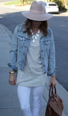 kendra scott harlow outfit, neutral tank, white jeans, white hermes bracelet, blush hat, brown ysl bag, street style