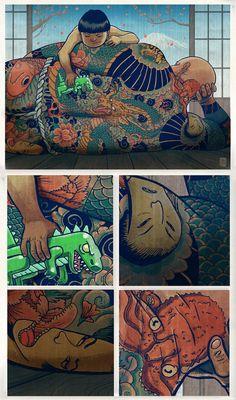 Illustrations by Mateusz Kolek, via Behance Images Graffiti, Illustrations, Illustration Art, Le Vent Se Leve, Franz Marc, Comic Panels, Japanese Art, Cover Art, Amazing Art