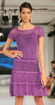 Ladies purple dress crochet / custom made Crochet Cardigan, Knit Dress, Dress Skirt, Knit Crochet, Clothing Patterns, Dress Patterns, Vestidos Fashion, Crochet World, Beautiful Crochet